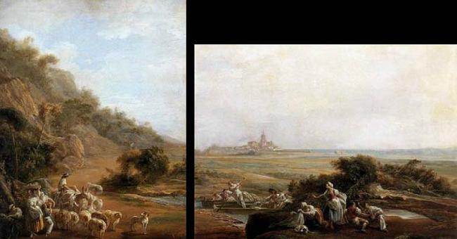 Luis Paret y alcazar Village Scene and View of Fuenterrabia oil painting image